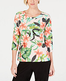 JM Collection Petite 3/4-Sleeve Floral Top, Created for Macy's