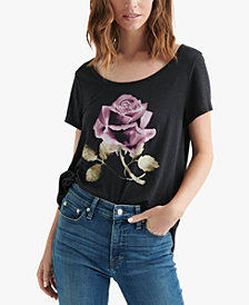 Lucky Brand Cotton Rose-Graphic T-Shirt