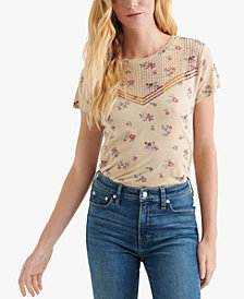 Lucky Brand Embroidered Printed T-Shirt