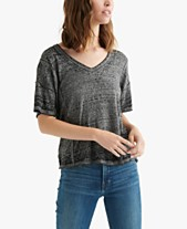 5caedefa443 Lucky Brand Seamed Burnout T-Shirt