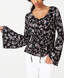 American Rag Juniors' Bell-Sleeve Peasant Top, Created for Macy's