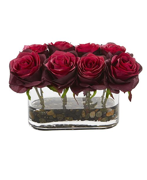 """Nearly Natural 5.5"""" Blooming Roses in Glass Vase Artificial Arrangement"""
