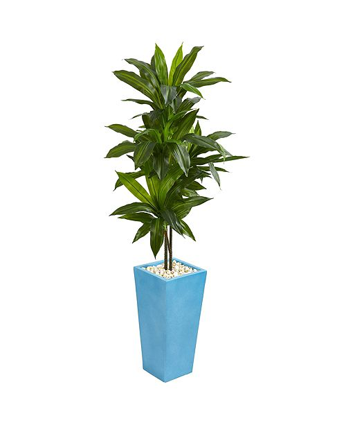 Nearly Natural 5' Dracaena Artificial Plant in Turquoise Tower Vase