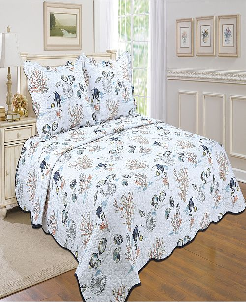 United Curtain Co Inc By the Sea Twin Quilt Set