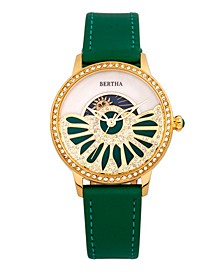 Quartz Adaline Green Genuine Leather Watch, 37mm