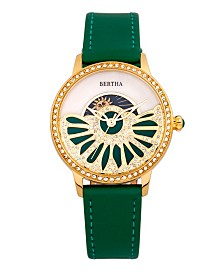Bertha Quartz Adaline Green Genuine Leather Watch, 37mm