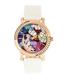 Bertha Quartz Vanessa White Genuine Leather Watch, 36mm