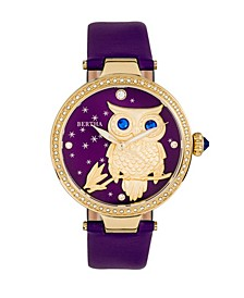 Quartz Rosie Purple Genuine Leather Watch, 38mm