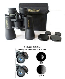 Galileo 8-24 Zoom Binocular with 50 mm Lenses, Case and Shoulder Strap