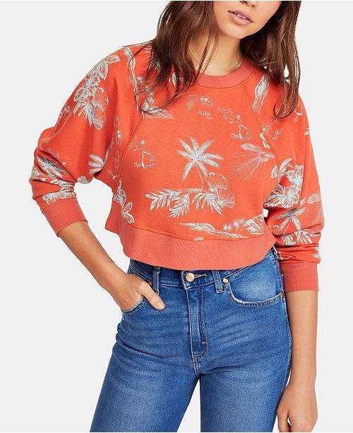 b4531abcb0f Free People Cotton Poppy Printed Cropped Sweatshirt & Reviews - Tops ...