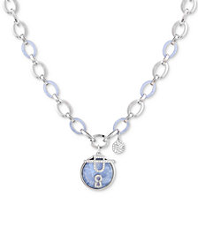 """GUESS Silver-Tone Link, Crystal & Resin Pendant Necklace, 24"""" + 2"""" extender"""