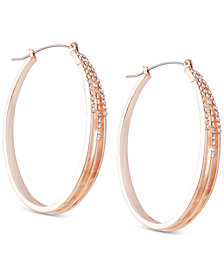 GUESS Rose Gold-Tone Crystal Triple-Row Medium Hoop Earrings