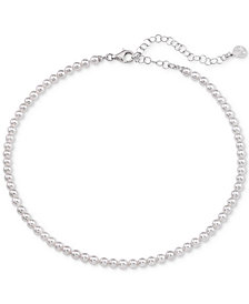 "Majorica Imitation Pearl Strand Necklace in Sterling Silver, 13"" + 2"" extender"