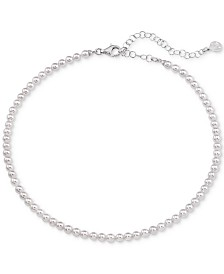 """Majorica Imitation Pearl Strand Necklace in Sterling Silver, 13"""" + 2"""" extender"""
