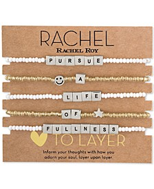 Two-Tone 5-Pc. Set Message Stretch Bracelets