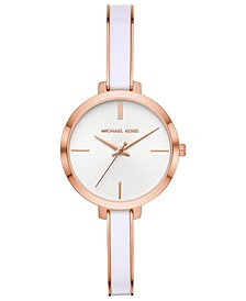 Women's Jaryn Rose Gold-Tone Stainless Steel & White Acetate Half-Bangle Bracelet Watch 36mm
