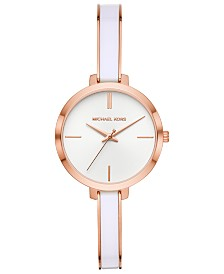 Michael Kors Women's Jaryn Rose Gold-Tone Stainless Steel & White Acetate Half-Bangle Bracelet Watch 36mm