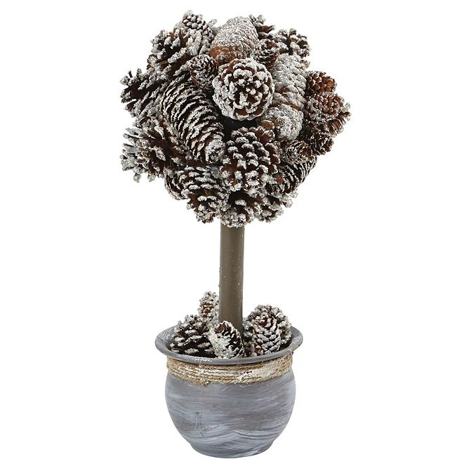 "Nearly Natural ""Snowy Pinecone Arrangement in Ceramic Planter """
