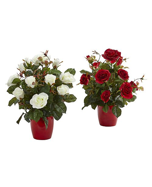 Nearly Natural Rose Artificial Plant in Red Planter, Set of 2