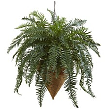 """Nearly Natural 33"""" Giant River Fern w/ Cone Hanging Basket"""