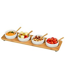Bamboo Divided Serving Platter with 4 Bowls and 4 Bamboo Spoons