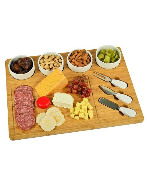 Picnic At Ascot Baxter Bamboo Cheese Board with 4 Bowls and Multifunction Knife