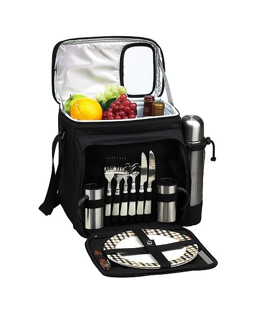 Picnic At Ascot Picnic Basket Cooler with Coffee, Equipped for 2 - Leak Proof
