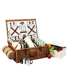 Dorset English-Style Picnic, Coffee Basket for 4 with Blanket