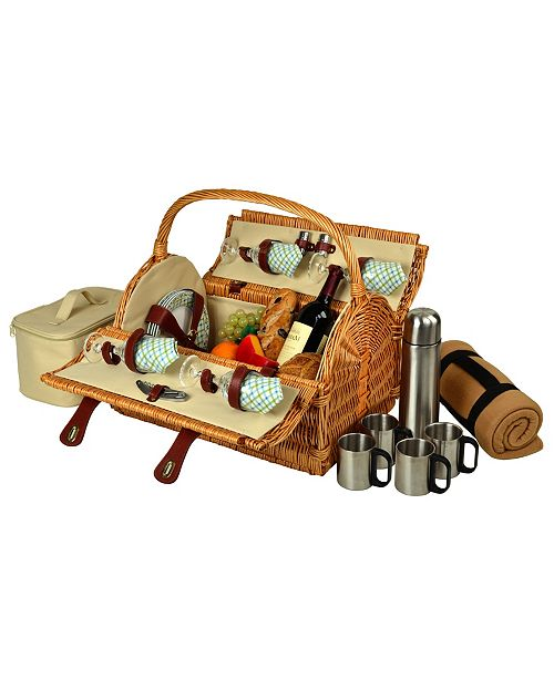Picnic At Ascot Yorkshire Willow Picnic Basket for 4 with Coffee Set and Blanket