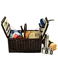 Picnic at Ascot Surrey Willow Picnic Basket for 2 with Blanket and Coffee Set
