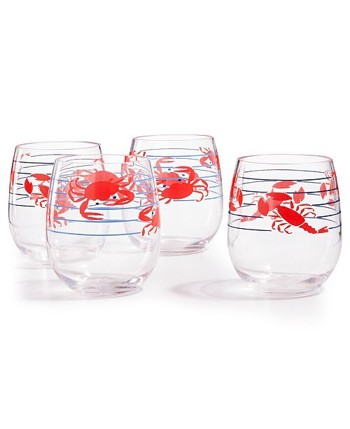 Martha Stewart Collection Grilling Stemless Wine Glasses, Set ...
