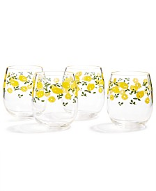 Martha Stewart Collection Stemless Wine Glasses, Set of 4, Created for Macy's