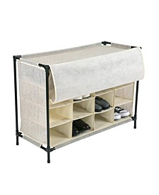 16 Compartment Shoe Cubby in Faux Jute