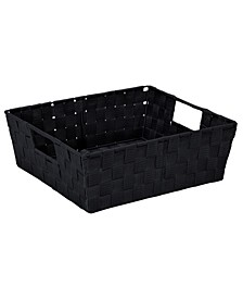 Large Woven Storage Bin in Black