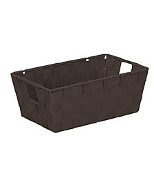 Small Woven Storage Shelf Bin in Chocolate