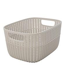 Simplify 2-Tone Decorative Medium Storage Basket in Ivory