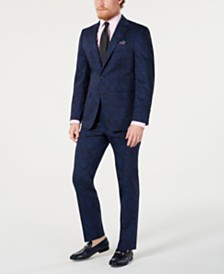 Tallia Men's Slim-Fit Navy/Black Paisley Suit