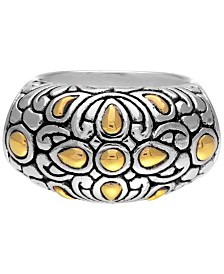 Bali Heritage Classic Sterling Silver Ring embellished by 18K Gold Accents