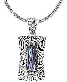 """Bali Heritage Signature Carving Paua Sterling Silver Pendant Necklace 18"""" Length"""