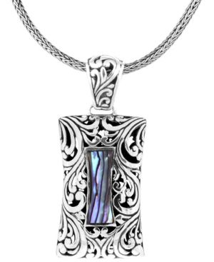 "Bali Heritage Signature Carving Paua Sterling Silver Pendant Necklace 18"" Length -  Devata"