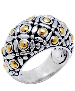 The Eclipse Signature Sterling Silver Ring embellished by 18K Gold Accents Dots -  Devata
