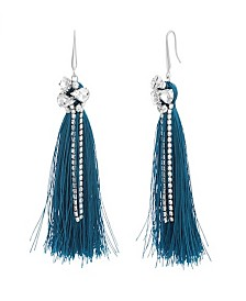 Catherine Malandrino Women's White Rhinestone Silver-Tone Green Tassel Earrings