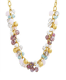 Catherine Malandrino Women's Multicolored Clustered Yellow Gold-Tone Beaded Necklace