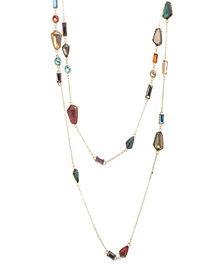 Catherine Malandrino Women's Warm Hued Geo Rhinestone Yellow Gold-Tone 2 Layer Rolo Chain Necklace