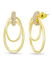 Catherine Malandrino Women's White Rhinestone 2-Layer Oval Yellow Gold-Tone Hoop Earrings