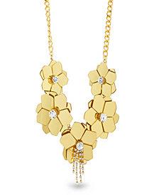 Catherine Malandrino Women's White Rhinestone Flower Yellow Gold-Tone Statement Necklace