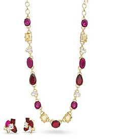 Women's Red, Magenta And Metallic Rhinestone Yellow Gold-Tone Cluster Earring And Necklace Set