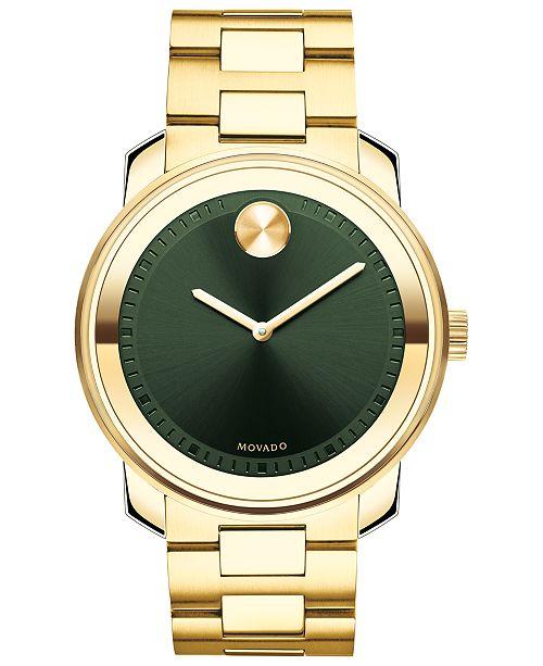 Movado Men's Swiss BOLD Gold-Tone Stainless Steel Bracelet Watch 42.5mm