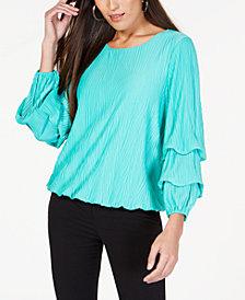 Alfani Petite Textured Bubble-Sleeve Top, Created for Macy's