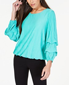 Alfani Petite Textured Bubble-Sleeve Top, Created for Macy's